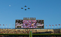 A squadron of F18's fly over Kyle Field as part of pregame activities of an NCAA college football game between Youth Carolina and Texas A&M Saturday, Sept. 30, 2017, in College Station, Texas. (AP Photo/Sam Craft)