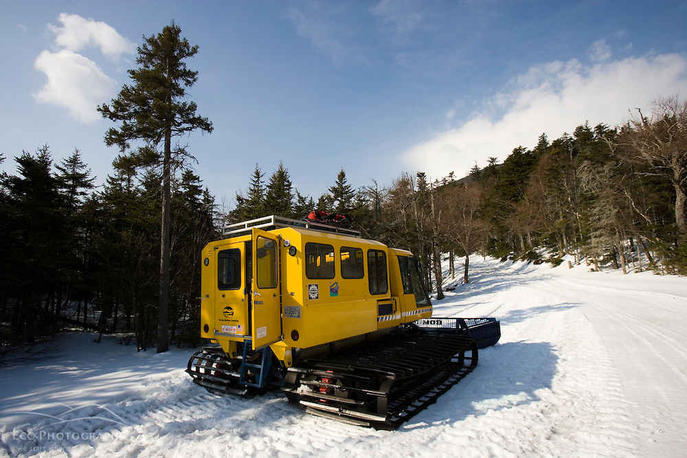 Snowcat on the Mount Washington Auto Road in winter.  New Hampshire.