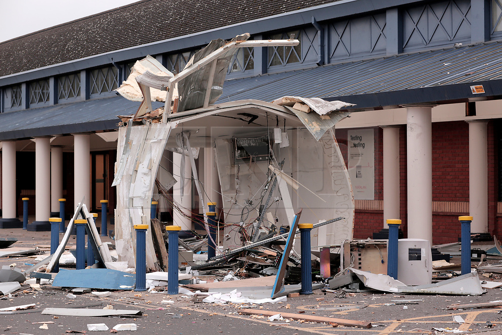 © Under licence to London News Pictures. 26/10/2017 A cash machine blown up by thiefs on Darlington's Neasham Road in County Durham UK. Photo Credit: Stuart Boulton/LNP