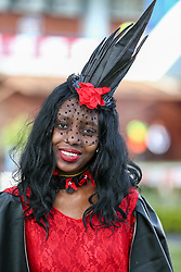 Durban. 070718. Fashion Theme for the 2018 Vodacom Durban July. - It Is Time - Every year a new theme is released to get the creative juices of the visitors and fashion desighners flowing. Picture Leon Lestrade. African News Agency/ANA. Mandisa Dlamini dreesed by Khanyisule Kunene