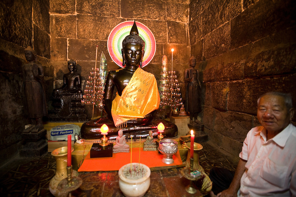 At Wat Ounalum, inside holy stupa with hair of Buddha's eyebrow, Phnom Penh, Cambodia