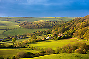 Rolling hills and farm in Exmoor National Park in Somerset, United Kingdom