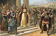 Saint Genevieve of Paris (c419/422-502/512), in her role as protector of the welfare of the city's virgins, confronting Attila during the attack on Paris by the  Huns in 451. France Nineteenth century Trade Card Chromolithograph
