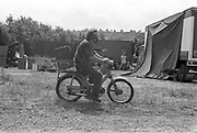 Man riding a Moped.Glastonbury, Somerset,1989.