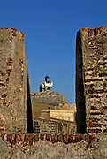 El Morro lighthouse viewed through wall of historic fortress, San Juan National Historic Site, Old San Juan, Puerto Rico.