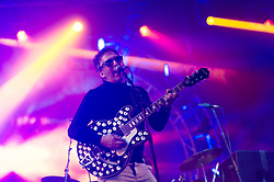 © Licensed to London News Pictures. 14/06/2015. Isle of Wight, UK.   The Lightning Seeds performing live at Isle of Wight Festival 2015, Day 4 Sunday.   In this picture - Ian Broudie.  Headline acts include The Prodigy, Blur and Fleetwood Mac.   Photo credit : Richard Isaac/LNP