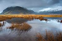 A Pond in Suðursveit, Austur-Skaftafellssýsla, Southeast Iceland. Mount Fellsfjall in background.