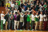 Rice students listen to the National Anthem during the boys basketball game between the Essex Hornets and the Rice Green Knights at Rice Memorial high school on Tuesday night December 22, 2015 in South Burlington.(BRIAN JENKINS/for the FREE PRESS)
