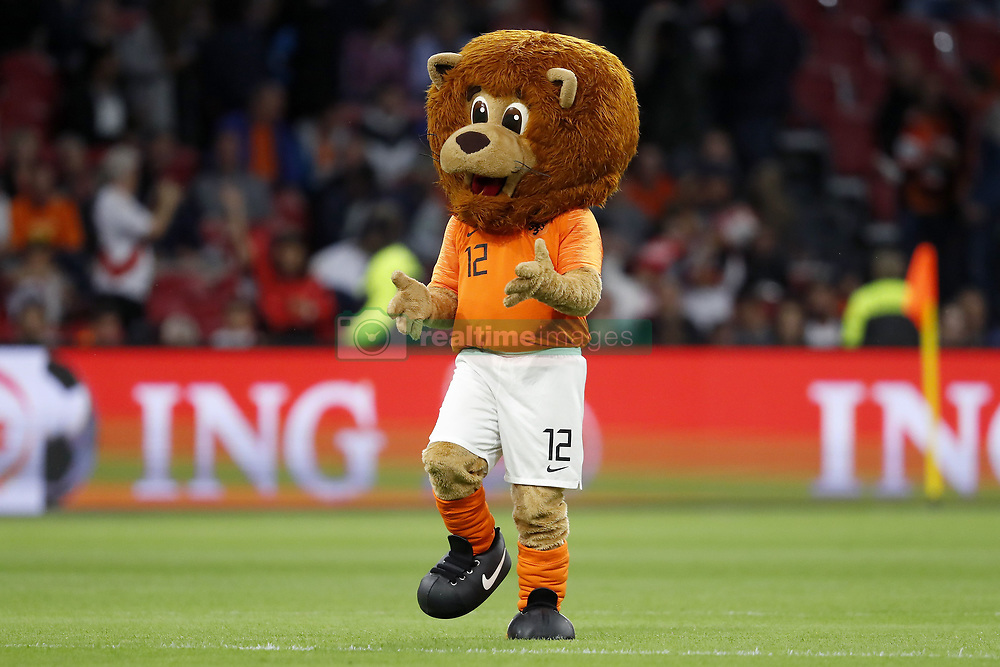 mascotte Dutchy during the International friendly match match between The Netherlands and Peru at the Johan Cruijff Arena on September 06, 2018 in Amsterdam, The Netherlands