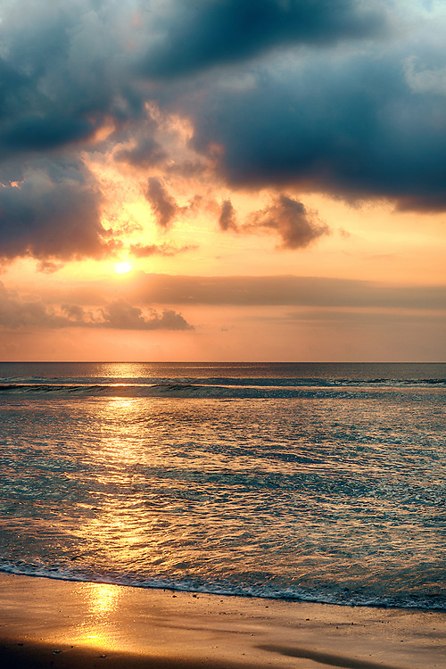 Sunset at Kuta Beach of Indonesia