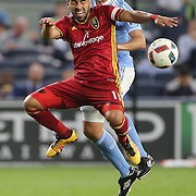 NEW YORK, NEW YORK - June 02:  Javier Morales #11 of Real Salt Lake is challenged by Andoni Iraola #51 of New York City FC in action during the NYCFC Vs Real Salt Lake regular season MLS game at Yankee Stadium on June 02, 2016 in New York City. (Photo by Tim Clayton/Corbis via Getty Images)