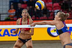06-01-2019 NED: Dela Beach Open, Den Haag<br /> Finland win the bronze medal / Taru Lahti-Liukkonen #2 FIN. Alexandra Klineman #2 USA