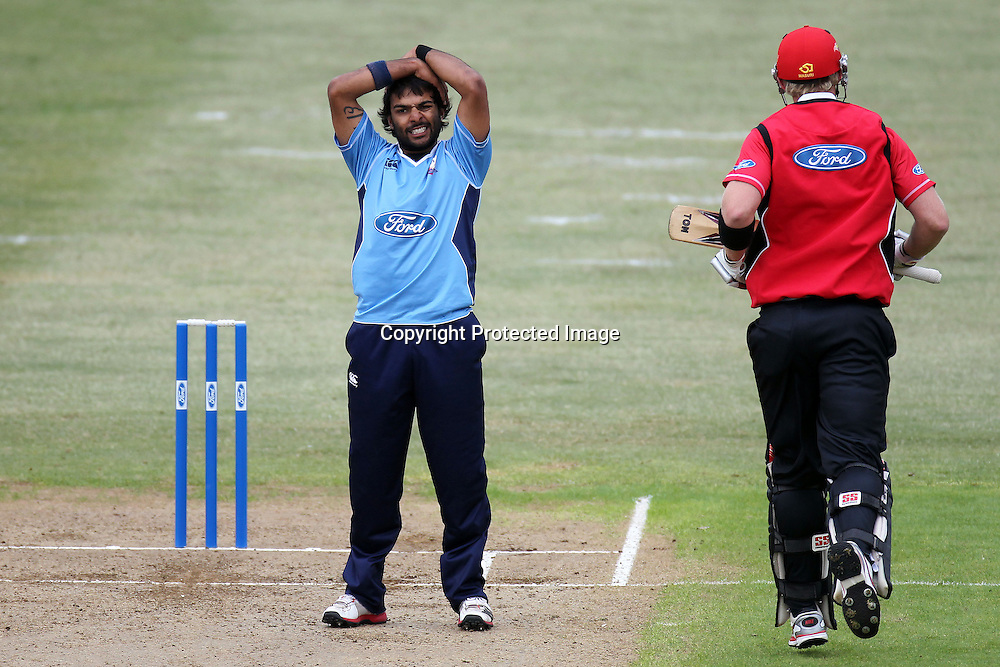 Ronnie Hira reacts during the Ford Trophy match between the Auckland Aces and Canterbury Wizards. Men's domestic one day cricket. Colin Maiden Park, Auckland, New Zealand. Wednesday 14 December 2011. Ella Brockelsby / photosport.co.nz