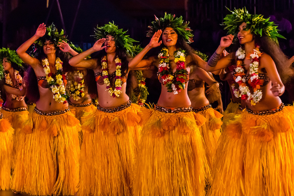 Tahiti Ora dance group performing during  the Winners Showcase, the final night of Heiva i Tahiti (July cultural festival), Place Toata, Papeete, Tahiti, French Polynesia.