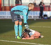 Partick Thistle's ex Dundee goalkeeper Scott Fox consoles Gary Irvine after the knock whic led to the Dundee defender leaving the field at half time - Dundee v Partick Thistle, SPFL Premiership at Dens Park<br /> <br />  - &copy; David Young - www.davidyoungphoto.co.uk - email: davidyoungphoto@gmail.com
