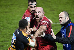 December 15, 2018 - Toulouse, France - LUCAS POINTUD gets in the face of TJ Harris as they scuffle during Toulouse vs Wasps Champions Cup match. (Credit Image: © Panoramic via ZUMA Press)