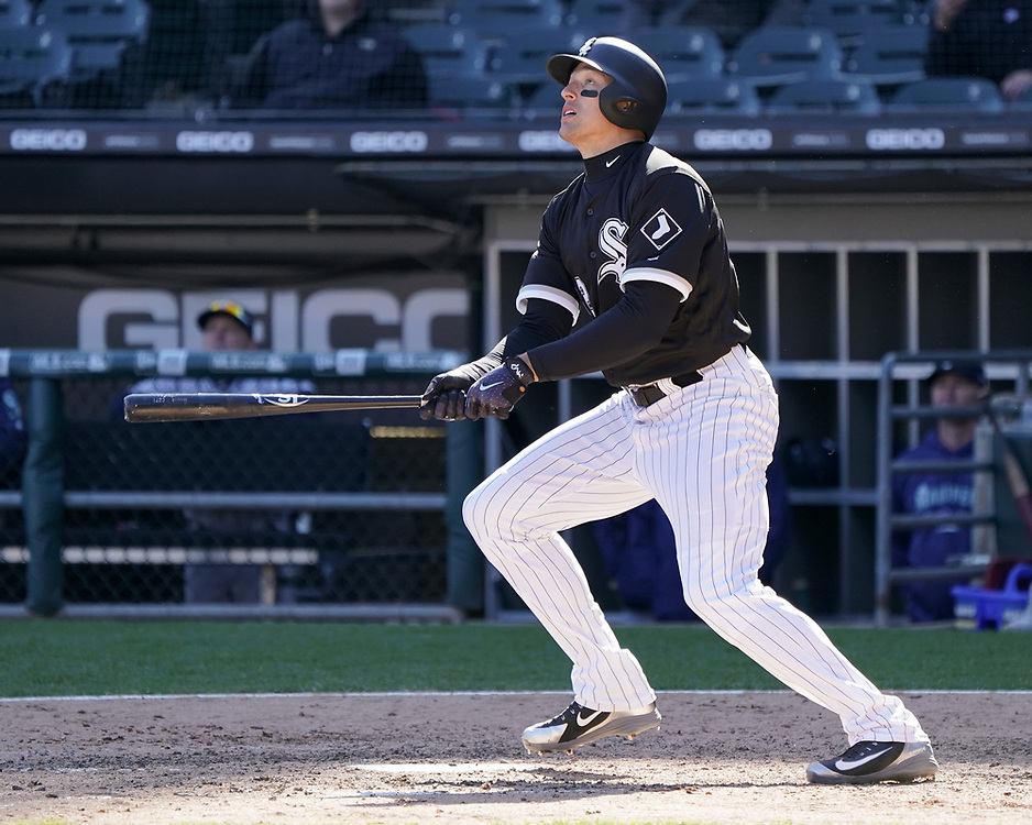 CHICAGO - APRIL 25:  Trayce Thompson #32 of the Chicago White Sox bats against the Seattle Mariners on April 25, 2018 at Guaranteed Rate Field in Chicago, Illinois.  (Photo by Ron Vesely)   Subject:   Trayce Thompson
