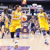 03 August 2014: Los Angeles Sparks guard/forward Armintie Herrington (22) passes the ball to Los Angeles Sparks forward Nneka Ogwumike (30) during the Los Angeles Sparks 70-69 victory over the Connecticut Sun, at the Staples Center, Los Angeles, California, USA.