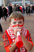 Young Aberdeen fan gets ready to support his team at the Betfred Scottish Cup  Final match between Aberdeen and Celtic at Hampden Park, Glasgow, United Kingdom on 27 November 2016. Photo by Craig Galloway.