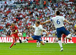04.06.2011, Wembley Stadium, London, ENG, UEFA EURO 2012, Qualifikation, England vs Switzerland, im Bild Gokhan Inler (captain) of Switzerland has a shot on goal..England v Switzerland.Euro 2012 qualifying.Wembley Stadium. London. UK. 4/6/11. EXPA Pictures © 2011, PhotoCredit: EXPA/ IPS/ Sean Ryan +++++ ATTENTION - OUT OF ENGLAND/UK and FRANCE/FR +++++