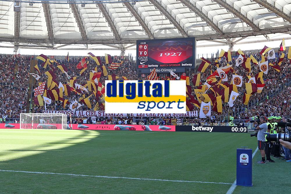 Coreografia Tifosi Roma<br />Roma Supporters<br />Roma 28-09-2018 Stadio Olimpico Football Calcio Serie A 2018/2019 AS Roma - Lazio Foto Luca Pagliaricci / Insidefoto