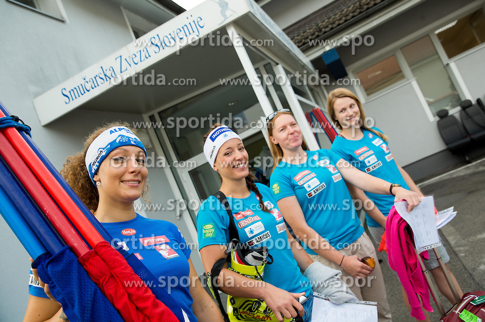 Ilka Stuhec, Katarina Lavtar, Marusa Ferk and Ana Drev at departure of Slovenian Women Ski Team to training camp in Argentina on August 5, 2014 in SZS, Ljubljana, Slovenia. Photo by Vid Ponikvar / Sportida.com