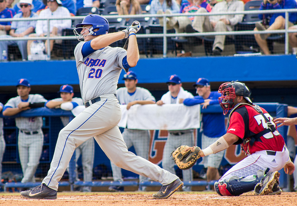 Peter Alonso strikes out in the sixth inning of the 2015 NCAA Gainesville Regional, Sunday, May 31, 2015. (photo by Samuel Navarro)
