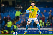Declan Rice (West Ham) warming up in his 'Kick It Out' T-shirt on ahead of the Premier League match between Chelsea and West Ham United at Stamford Bridge, London, England on 8 April 2019.