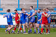 Halifax RLFC winger Conor McGrath (21) scores a try on the half time hooter and celebrates during the Betfred Championship match between Halifax RLFC and London Broncos at the MBi Shay Stadium, Halifax, United Kingdom on 8 April 2018. Picture by Simon Davies.