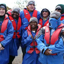 TAUPO, NEW ZEALAND - SEPTEMBER 20, Springbok  management during the Springboks Jet Boat Trip at Hukafalls on September 20, 2011 in Taupo, New Zealand<br /> Photo by Steve Haag / Gallo Images