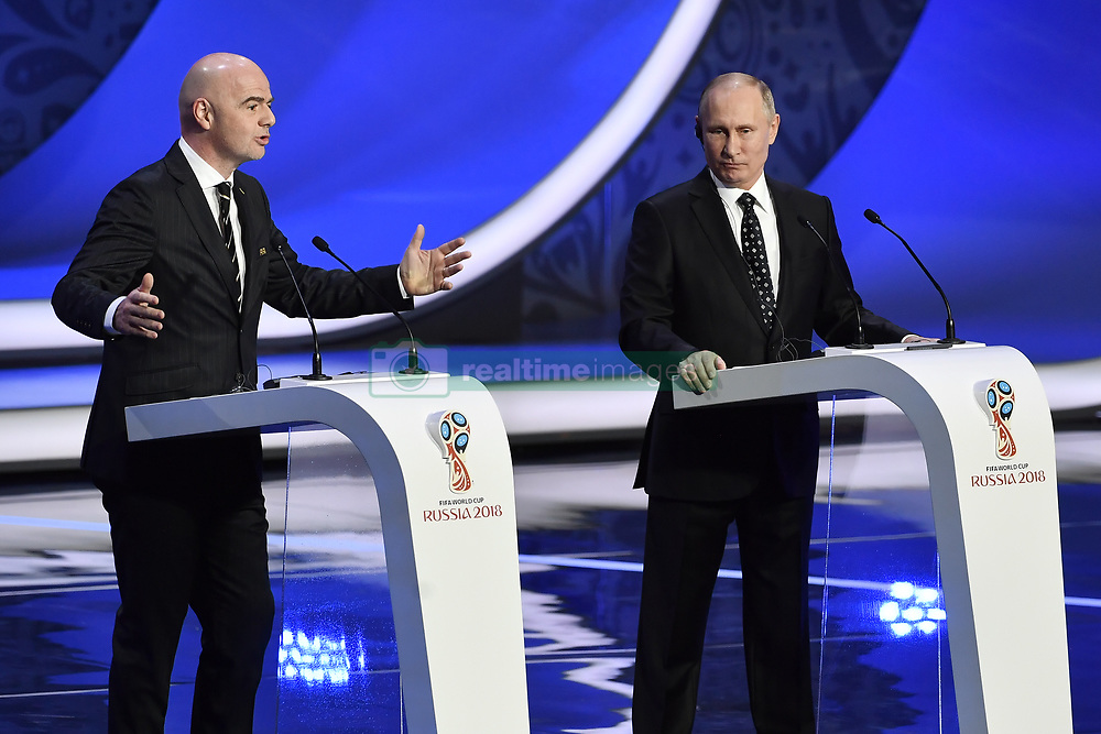 December 1, 2017 - Moscow, RUSSIA - FIFA President Gianni Infantino and Russian President Vladimir Putin pictured during the draw for the 2018 World Cup soccer in Moscow, with Belgium team in pot one, Russia, Friday 01 December 2017...BELGA PHOTO DIRK WAEM (Credit Image: © Dirk Waem/Belga via ZUMA Press)