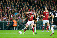 04.09.2015. Copenhagen, Denmark. <br /> Højbjerg (L) of Denmark fights for the ball with Hoxha                     (R) of Albania during their UEFA European Champions qualifying round match at the Parken Stadium. <br /> Photo: © Ricardo Ramirez.