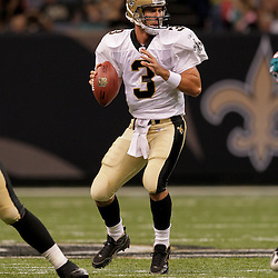2009 September 03: New Orleans Saints quarterback Joey Harrington (3) looks to pass during a preseason game between the Miami Dolphins and the New Orleans Saints at the Louisiana Superdome in New Orleans, Louisiana.
