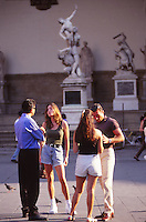 Italian guys picking up young women, Florence, Tuscany