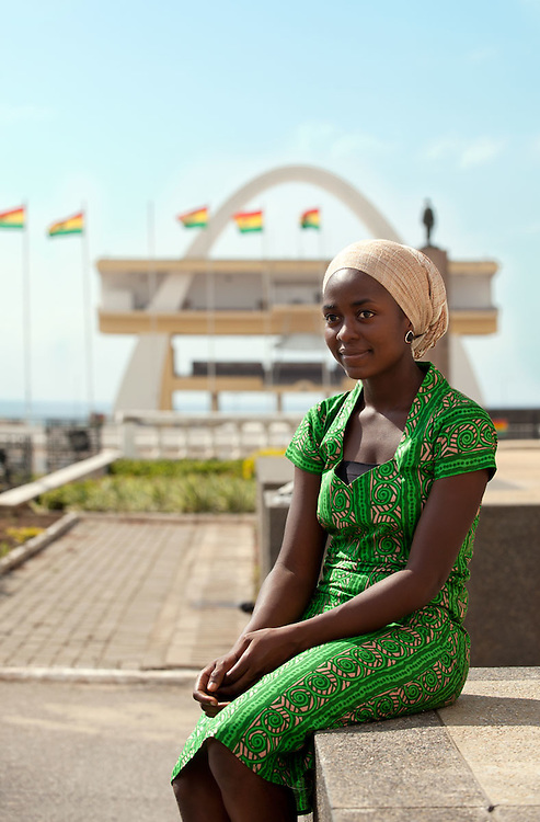 Photo of Symany in fron of Independence Squaare, Accra 2011