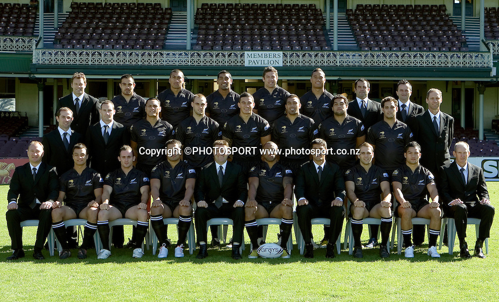Kiwis Team to play Centenary Test v Australia, Back Row (from Left) Dayne Norton (Assistant Trainer), Dene Halatau, David Fa'alogo, Iosia Soliola, Nathan Cayless, Ben Roberts, Stacey Jones (Team Mentor), Jonce Dimovski (IT Analyst). Middle Row, Hayden Knowles (Head Trainer), Karl McDonald (Physiotherapist), David Kidwell, Simon Mannering, Sonny Bill Williams, Frank Pritchard, Adam Blair, Jeremy Smith, Simon Mayhew (Doctor). Front Row, Dean Bell (Football Manager), Sam Perrett, Lance Hohaia, Setaimata Sa, Gordon Gibbons (Team Manager), Roy Asotasi (Captain), Stephen Kearney (Coach), Jason Nightingale, Issac Luke, Wayne Bennett (Coaching and Management Advisor), SCG, Sydney, Monday 5 May 2008. Photo: Melba Studios/PHOTOSPORT