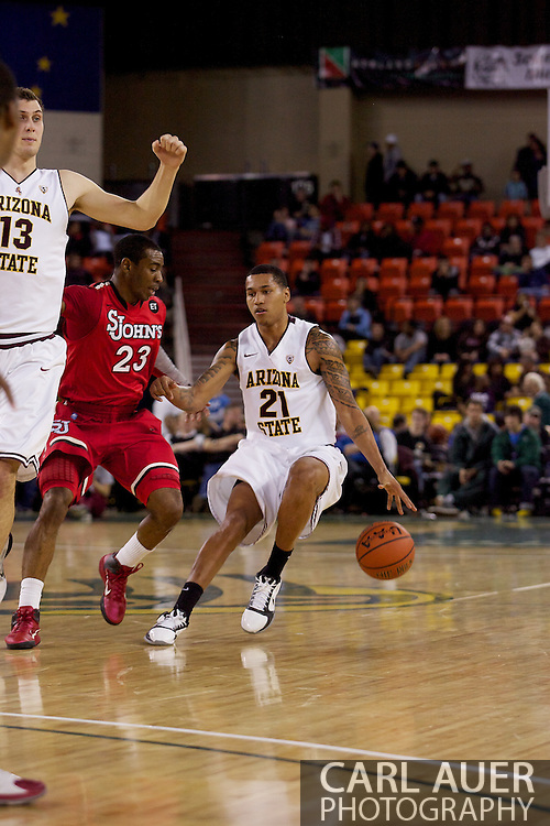 November 27th, 2010:  Anchorage, Alaska - Arizona State's Keala King (21) brings the ball up court past the St. John's press in the Sun Devil's 58-67 loss to St. Johns in the championship game of the Great Alaska Shootout.