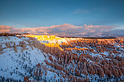 Sunrise over the spires and hoodoos of Bryce Canyon National Park.