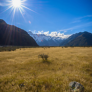 Aoraki Mount Cook with blue sky and empty field