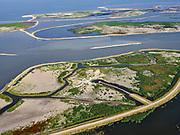 Nederland, Flevoland, Markermeer, 26-08-2019; Marker Wadden in het Markermeer.  Gezien vanuit het Westen, met vogelkijkhut. Doel van het project van Natuurmonumenten en Rijkswaterstaat is natuurherstel, met name verbetering van de ecologie in het gebied, in het bijzonder de kwaliteit van bodem en water<br /> Naast het hoofdeiland is er inmiddels een tweede eiland in wording, de uiteindelijk Marker Wadden archipel zal uit vijf eilanden bestaan. <br /> Marker Wadden, artifial islands. The aim of the project is to restore the ecology in the area, in particular the quality of soil and water.<br /> The first phase of the construction, the main island, is finished. <br /> <br /> luchtfoto (toeslag op standard tarieven);<br /> aerial photo (additional fee required);<br /> copyright foto/photo Siebe Swart