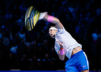 Tennis - 2019 Nitto ATP Finals at The O2 - Day Six<br /> <br /> Singles Group Andre Agassi: Rafael Nadal (Spain) Vs. Stefanos Tsitsipas (Greece)<br /> <br /> Rafael Nadal (Spain) serves <br /> <br /> COLORSPORT/DANIEL BEARHAM<br /> <br /> COLORSPORT/DANIEL BEARHAM