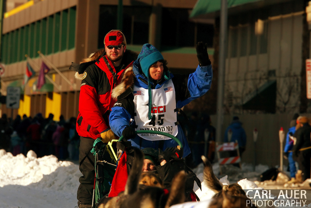 3/3/2007:  Anchorage Alaska -  Cindy Gallea of Seeley Lake, MT during the Ceremonial Start of the 35th Iditarod Sled Dog Race