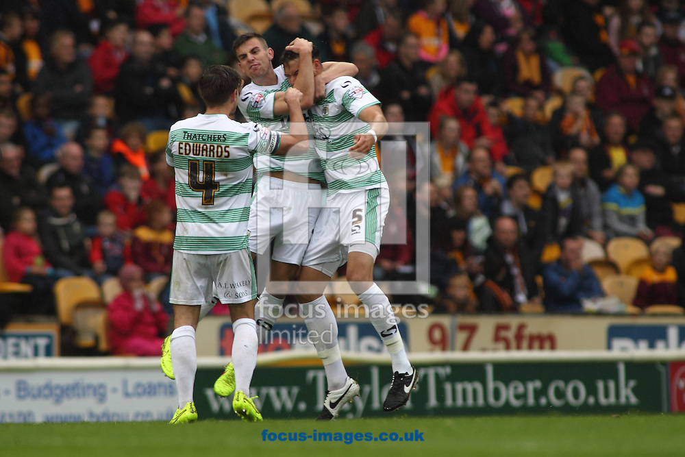 Aaron Martin (R) of Yeovil Town celebrates scoring the his goal against Bradford City during the Sky Bet League 1 match at the Coral Windows Stadium, Bradford<br /> Picture by Stephen Gaunt/Focus Images Ltd +447904 833202<br /> 06/09/2014