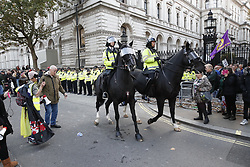 © Licensed to London News Pictures. 31/10/2019. London, UK. Police horses are deployed at the entrance to Downing Street as anti-Brexit protesters gather in central London on what would have been the United Kingdom's last day as a member of the European Union. The date of Brexit had been moved to January 31, 2020 after MPs failed to pass Prime Minister Boris Johnson's withdrawal agreement. Photo credit: Peter Macdiarmid/LNP
