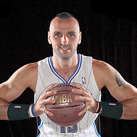 Marcin Gortat of the Orlando Magic media day at the Amway Center in downtown Orlando, Florida.