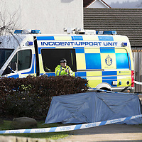 Suspicious Death, Perth…..25.02.17<br />Police Scotland have a cordoned off a section of Dunnock Park in the Muirton area of Perth and are investigating the sudden death of a 39 year old man called Douglas Anderson, officers along with the Scottish Ambulance Service were called to a property in the area in the early hours of Saturday February 25, 2017. Douglas Anderson was pronounced dead a short time later<br />Picture by Graeme Hart.<br />Copyright Perthshire Picture Agency<br />Tel: 01738 623350  Mobile: 07990 594431