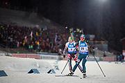 &Ouml;STERSUND, SVERIGE - 2017-12-03: Anastasiya Merkushyna, Lisa Theresa Hauser under damernas jaktstart t&auml;vling under IBU World Cup Skidskytte p&aring; &Ouml;stersunds Skidstadion den 1 december 2017 i &Ouml;stersund, Sverige.<br /> Foto: Johan Axelsson/Ombrello<br /> ***BETALBILD***