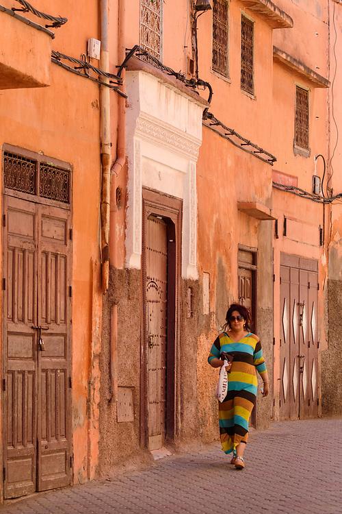 Africa, African, Northern Africa, Maghreb, Morocco, Marrakesh, Medina, people , street, woman walking in street