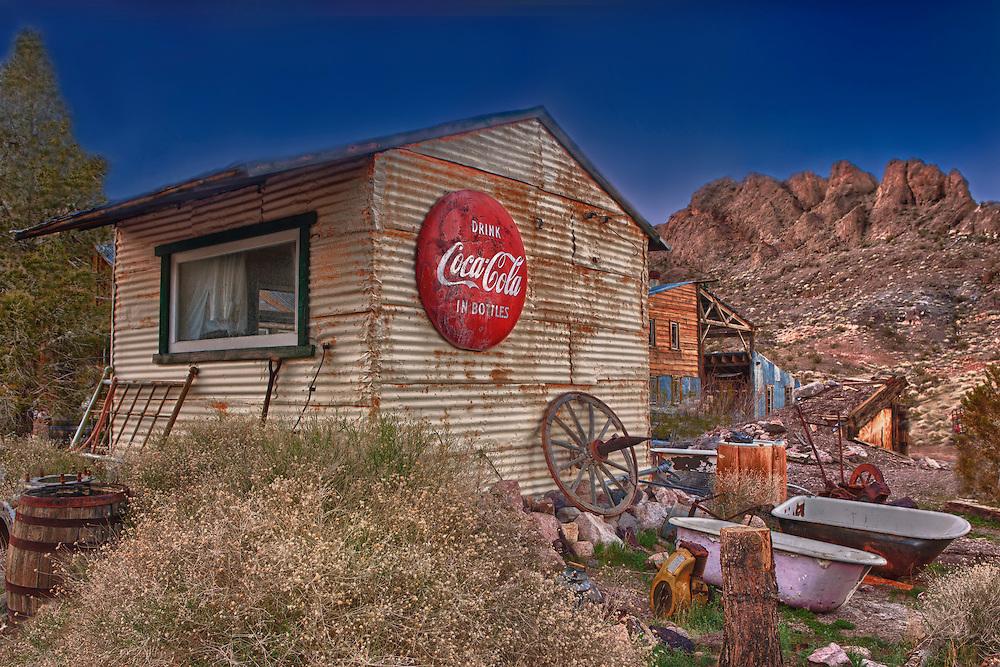 Drink Coca Cola Tin Shack - Eldorado Canyon Techatticup Mine - Nelson NV - HDR