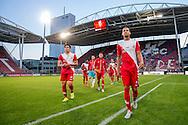 UTRECHT, FC Utrecht - FC Groningen, voetbal, Eredivisie seizoen 2015-2016, 29-08-2015, Stadion De Galgenwaard, vreugde na de overwinning bij FC Utrecht speler Ramon Leeuwin (R) en FC Utrecht speler Rubio Rubin (L).